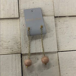 Long drop wooden bead earrings by stone+stick